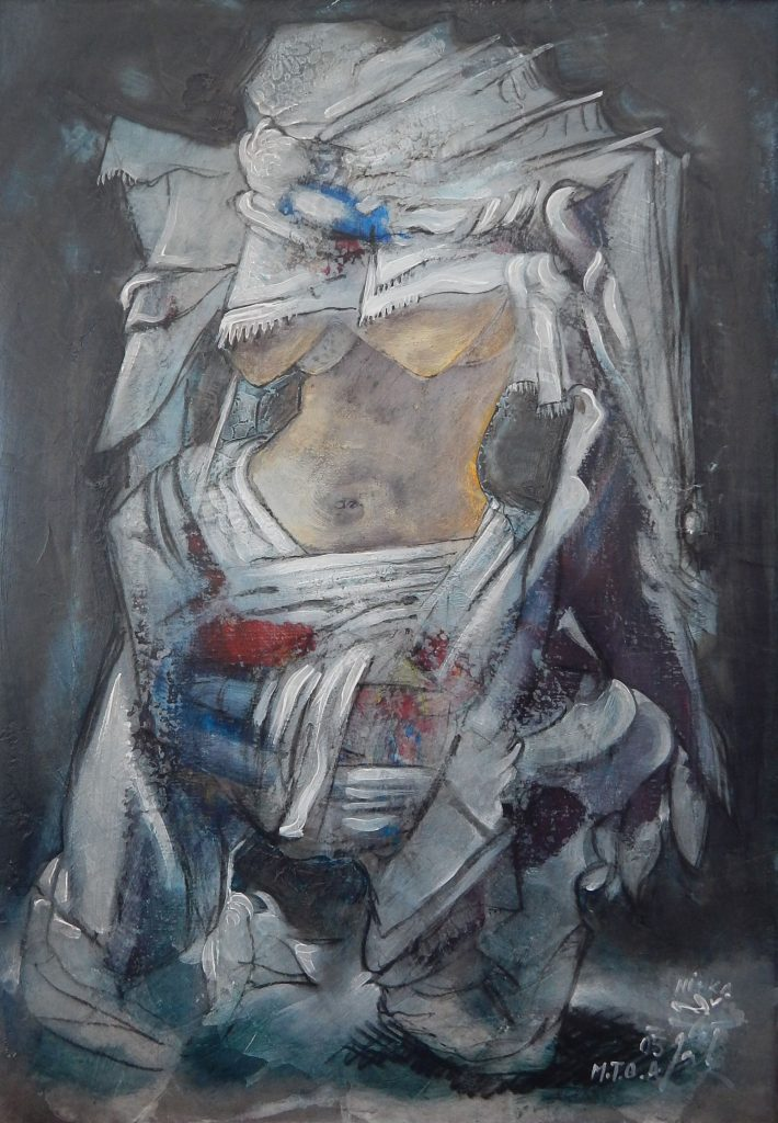 A SINGLE MOTHER, mixed technique on canvas, 70 x 50 cm, 2005