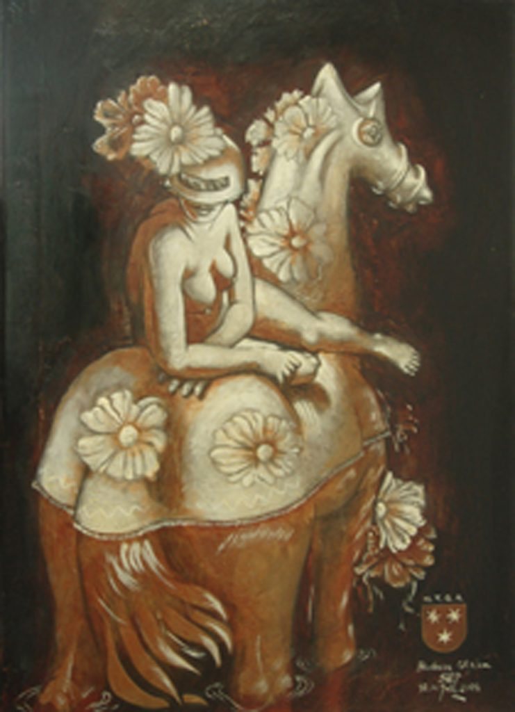 BARBARA OF CELJE, mixed technique on canvas, 100 x 70 cm