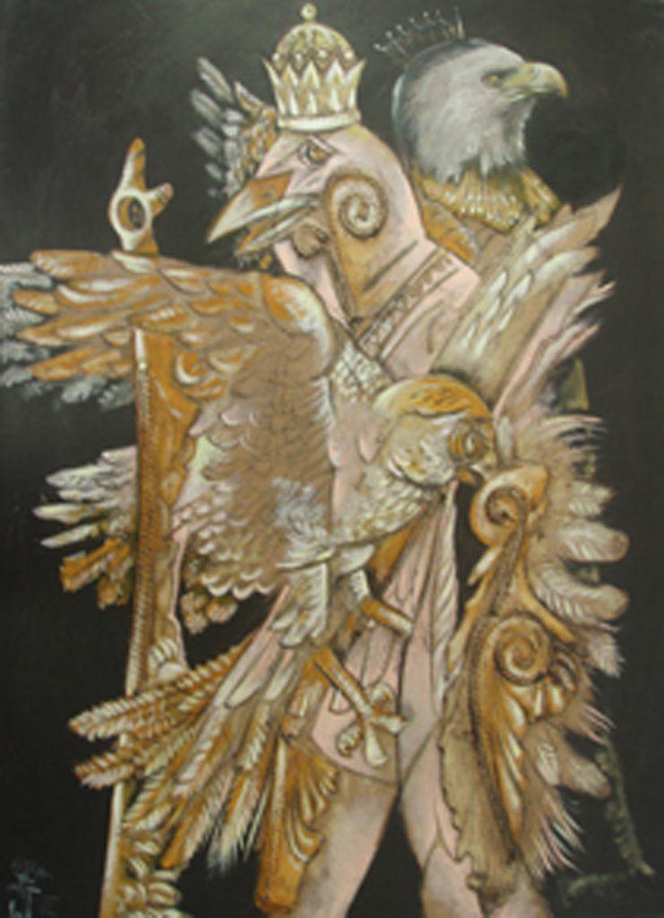 BIRD WEDDING, mixed technique on canvas 97 x 80 cm, 2002