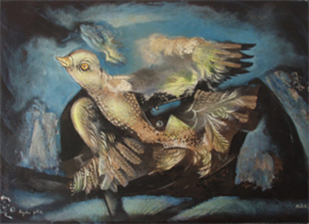 BIRTH OF A BIRD, mixed technique on canvas, 50 x 70 cm, 2005