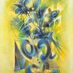 BLUE BOUQUET, mixed technique on canvas 123 x 94 cm, 2014
