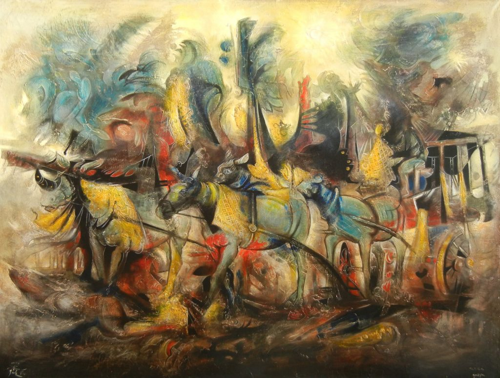CARRIAGE, mixed technique on canvas, 150 x 200 cm, 2018