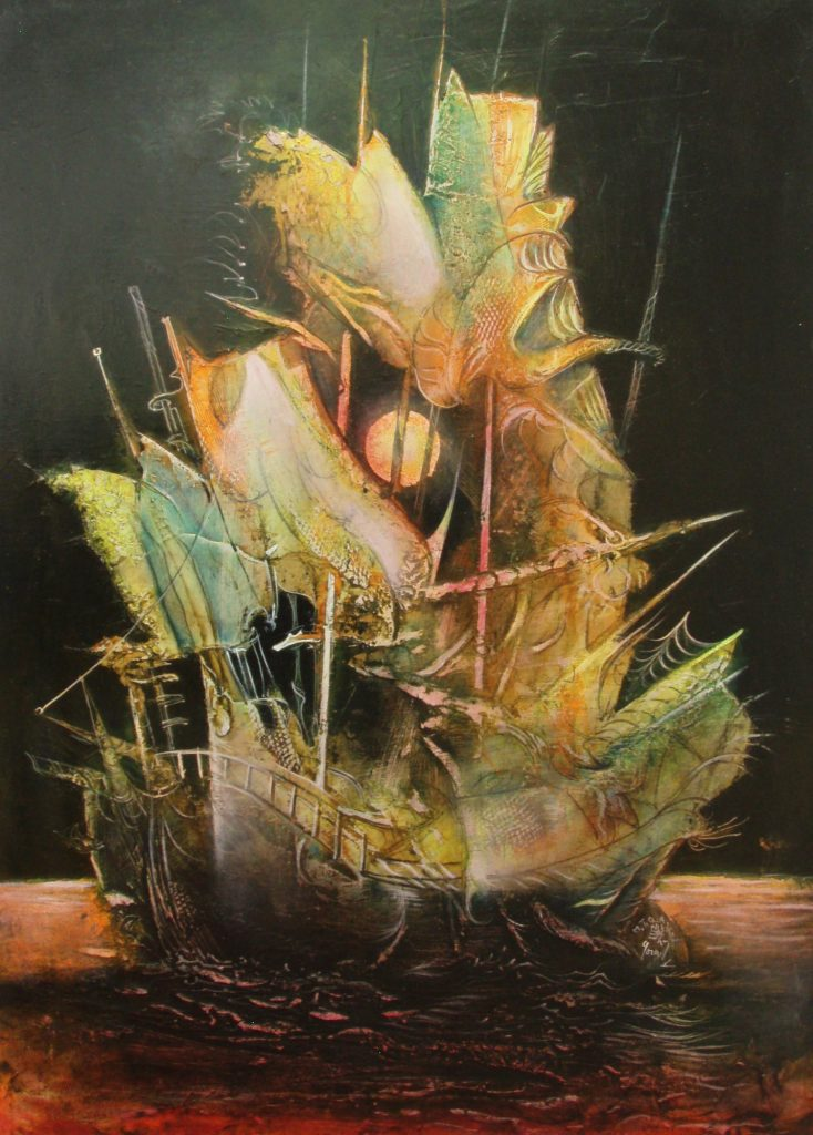 CHINESE VESSEL, mixed technique on canvas, 70 x 50 cm, 2007