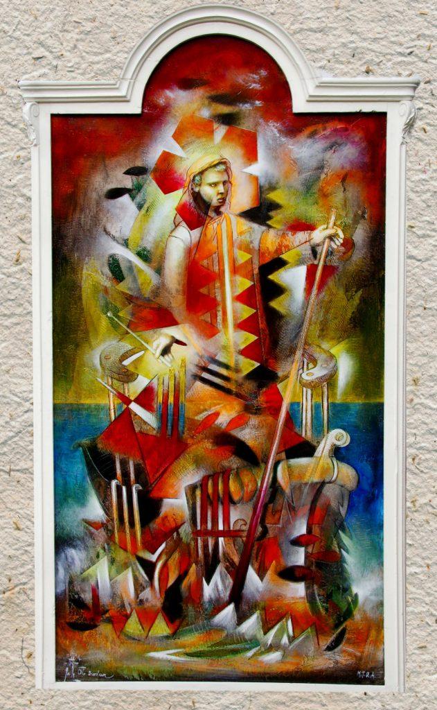 FERRYMAN, mixed technique on canvas, 150 x 87 cm, 2006