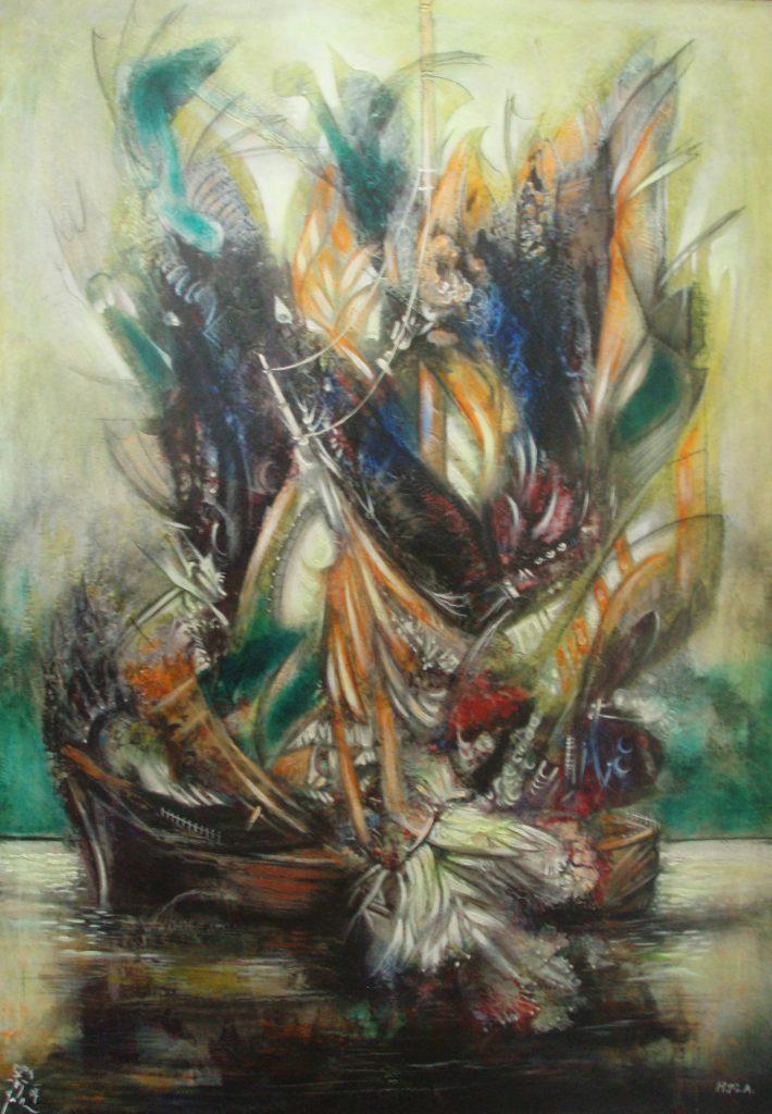 FLOWERING VESSEL, mixed technique on canvas, 100 x 70 cm, 2009