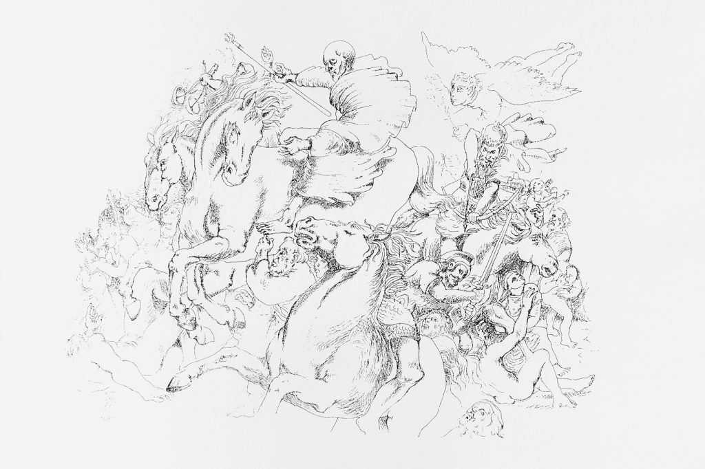 FOUR HORSEMEN OF APOCALYPSE , drawing 50 x 70 cm, 1990