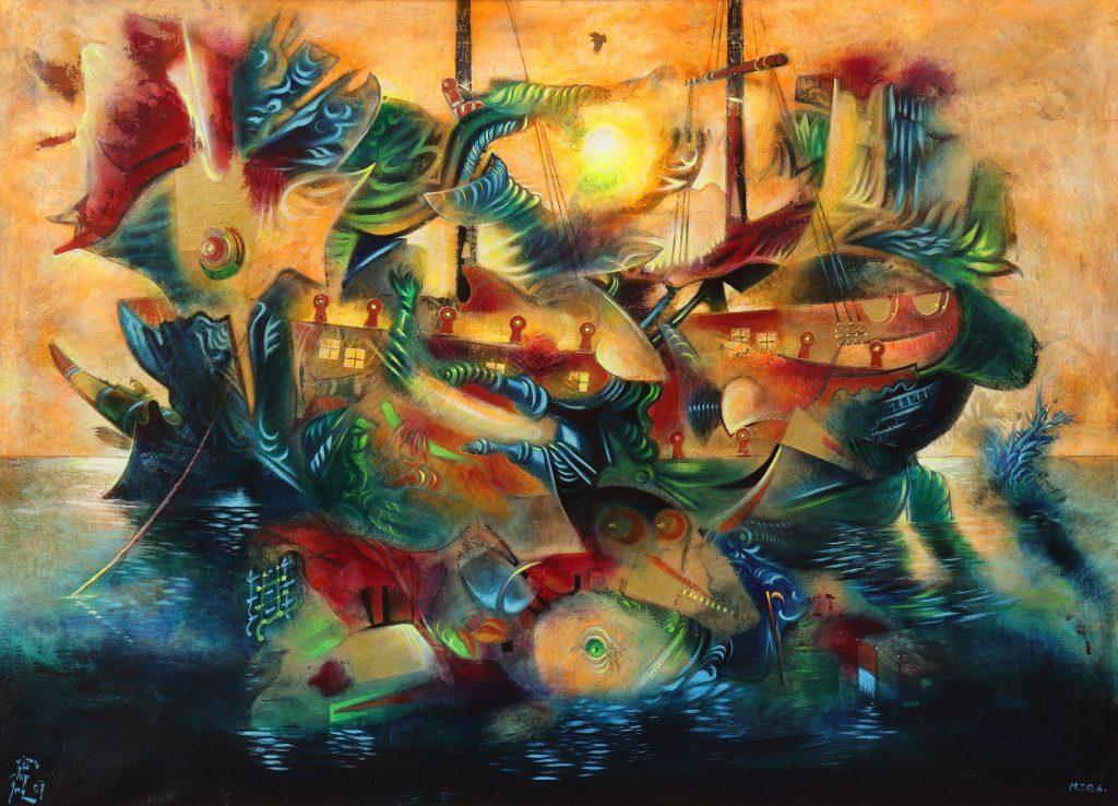 GOLDEN VESSEL, mixed technique on canvas, 112 x 150 cm, 2007