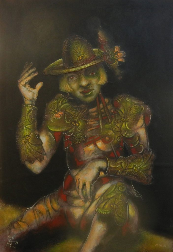 LADY WITH A HAT, mixed technique on canvas, 100 x 70 cm, 2008