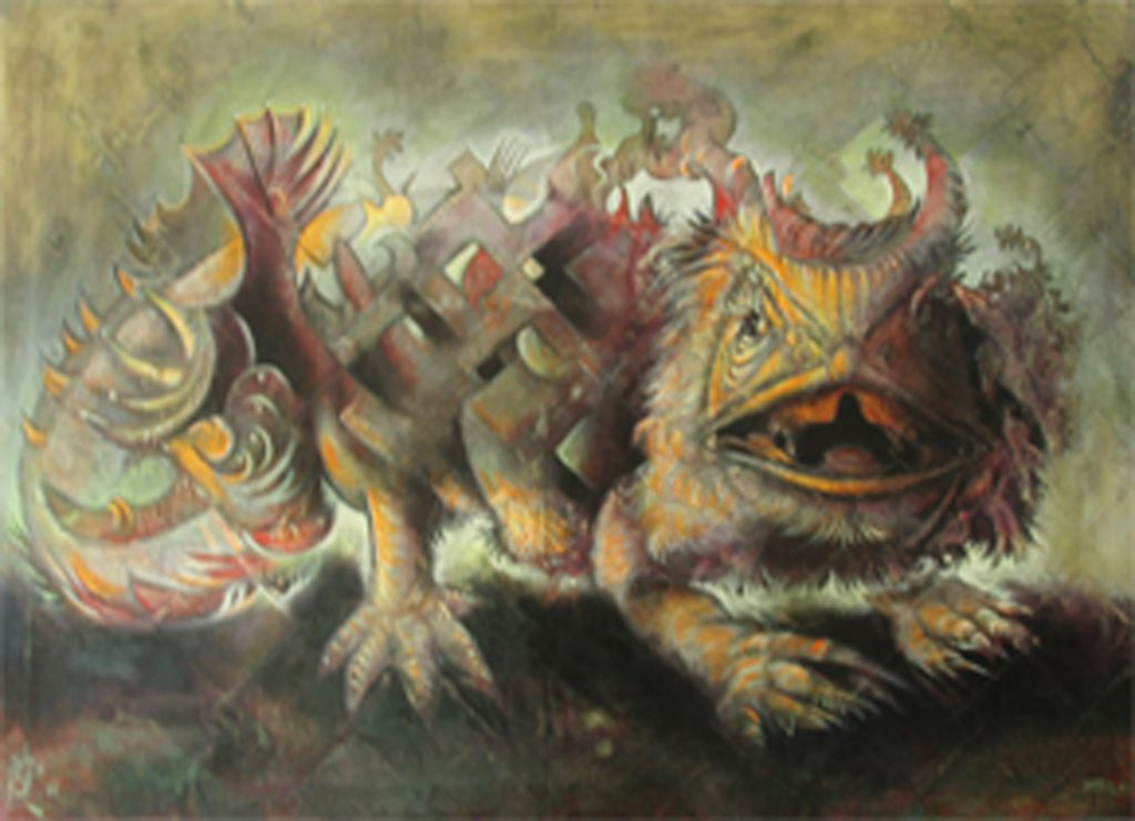 LIZARD, mixed technique on canvas, 70 x 100 cm, 2006
