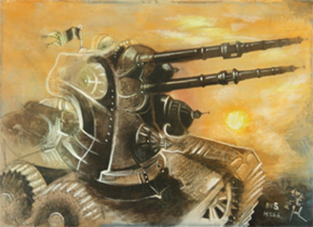 MIDDLE EAST MACHINE, mixed technique on canvas, 35 x 50 cm , 2006