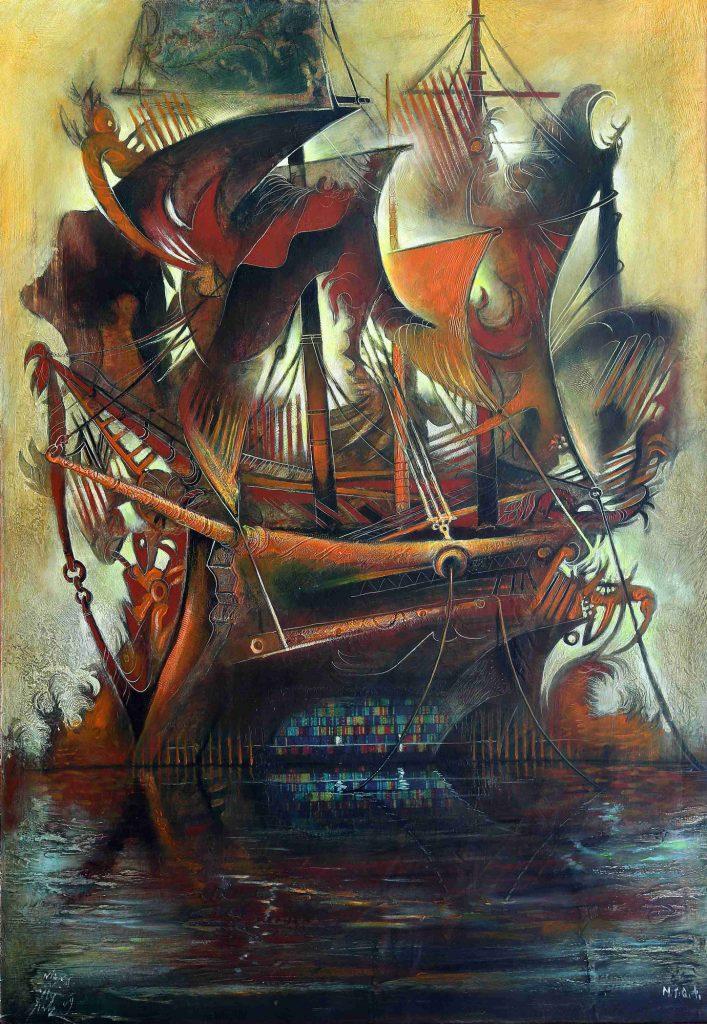RAINBOW VESSEL, mixed technique on canvas, 100 x 70 cm, 2009