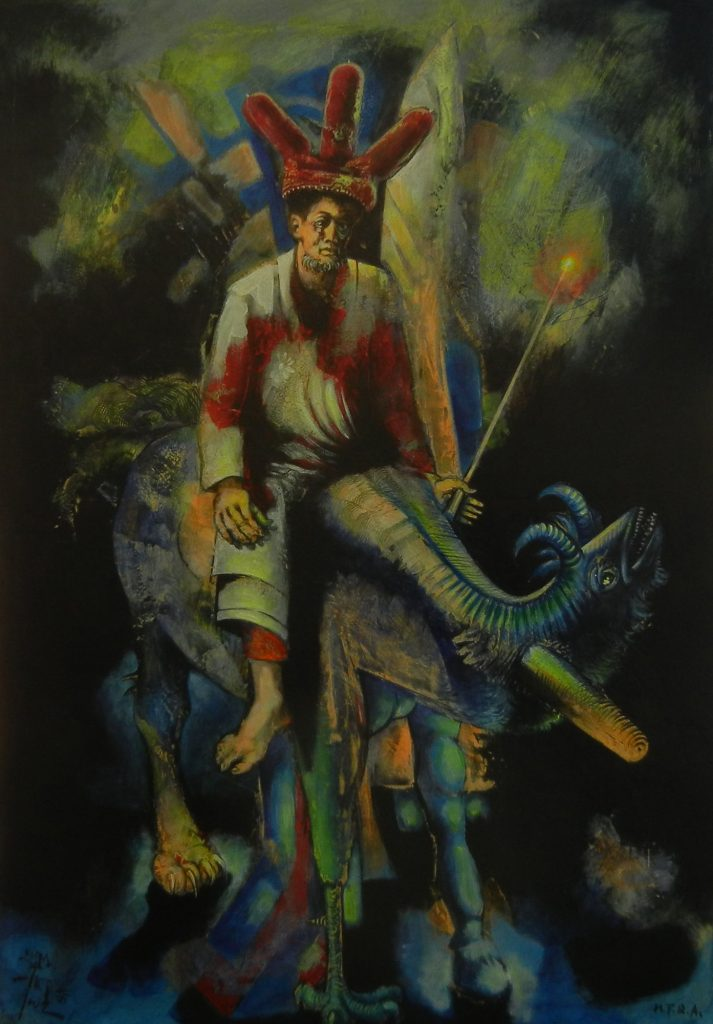 RIDER, mixed technique on canvas, 100 x 70 cm, 2005