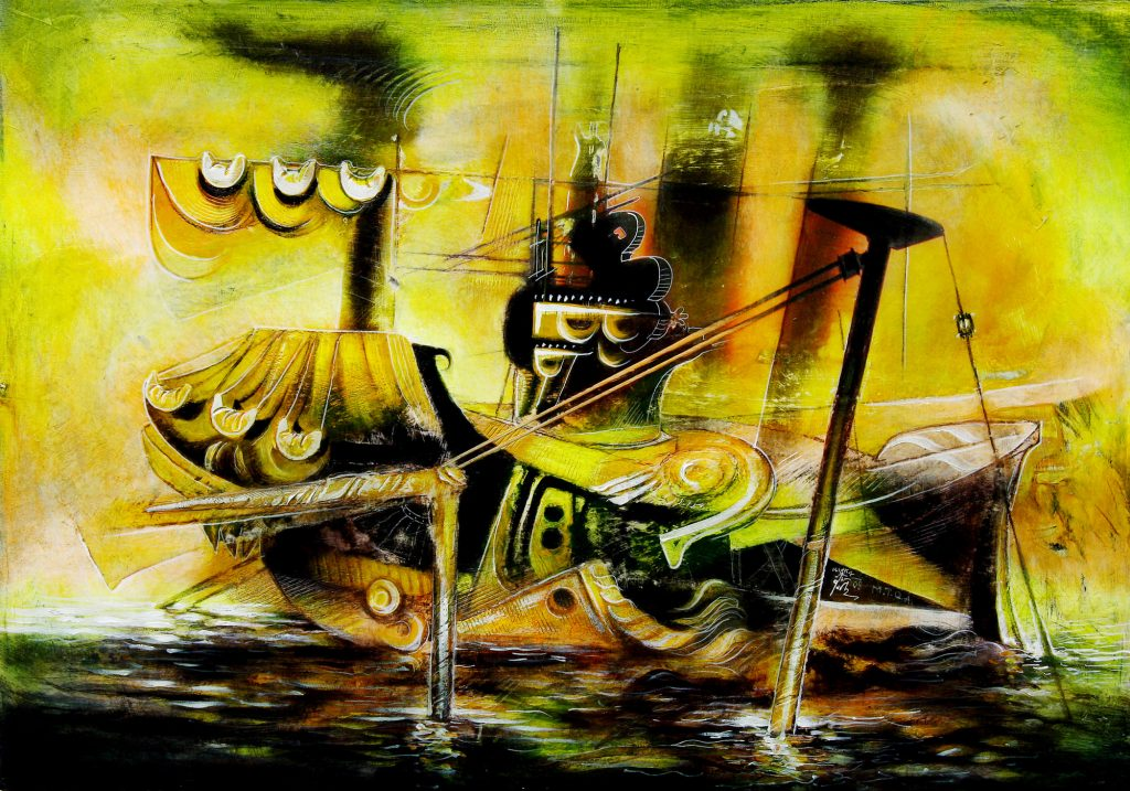 WORKING VESSEL, mixed technique on canvas, 50 x 70 cm, 2008