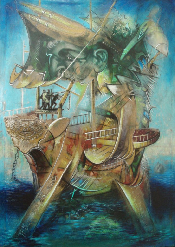 WOUNDED VESSEL, mixed technique on canvas, 100 x 70 cm, 2007