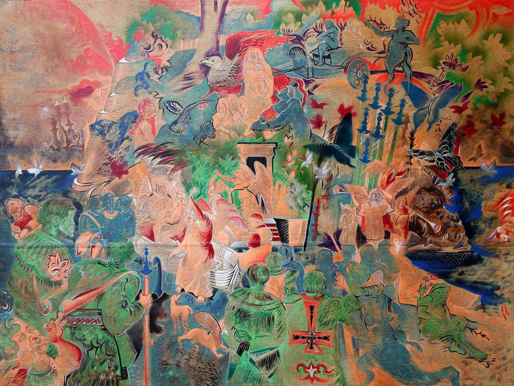 DANTE'S PURGATORY, mixed technique on canvas, 150 x 200 cm, 1988