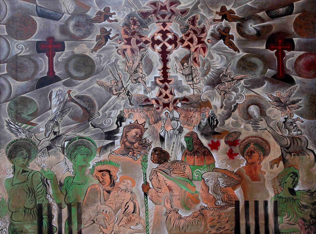 DANTE'S PARADISE, mixed technique on canvas, 150 x 200 cm, 1988